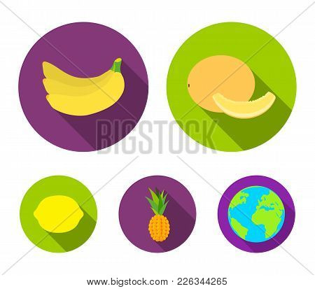 Melon, Banana, Pineapple, Lemon.fruits Set Collection Icons In Flat Style Vector Symbol Stock Illust