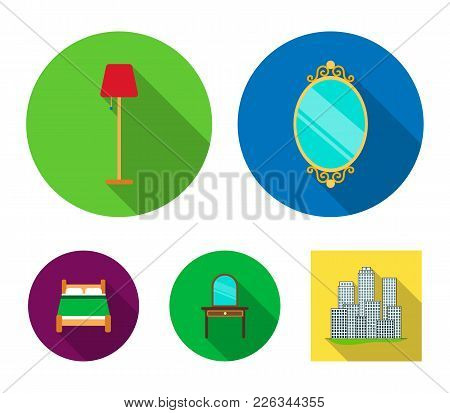 Mirror, Drawer, Table Lamp, Bed.furniture Set Collection Icons In Flat Style Vector Symbol Stock Ill
