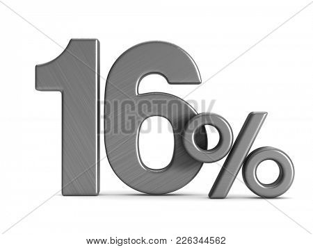 sixteen percent on white background. Isolated 3D illustration