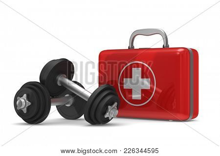 First aid kit and dumbbells on white background. Isolated 3D illustration