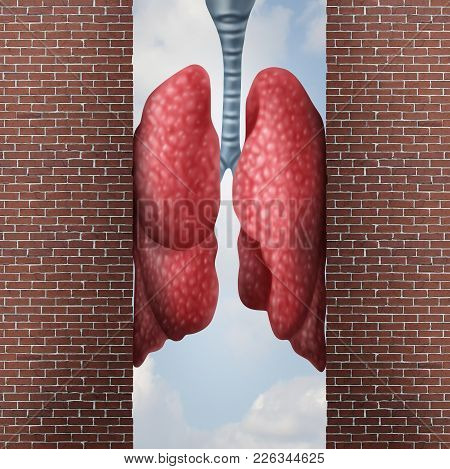 Asthma Health Problem Concept As Difficulty In Breathing Caused By Respiratory Distress With The Tig