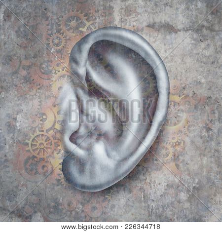 Hearing Loss And Deafness Medical Concept For Auditory Medicine As A Human Ear With Mechanical Symbo