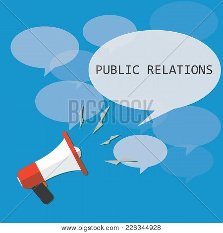 Public Relations. Vector Megaphone. Target Audience.megaphone And Bubble That Says Pr. Vector Illust