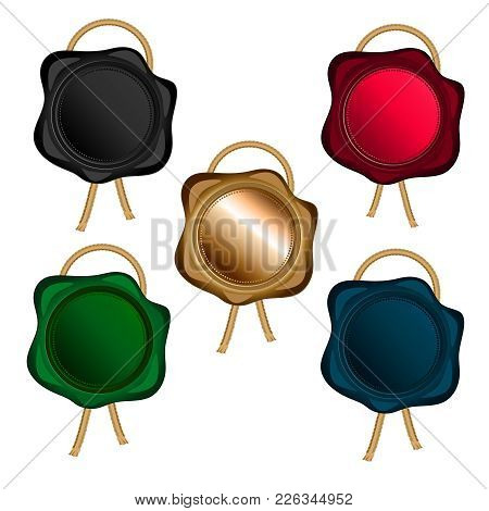 Wax Seal With Golden Rope Of Different Colors (gold, Black, Red, Blue, Green), Isolated Objects