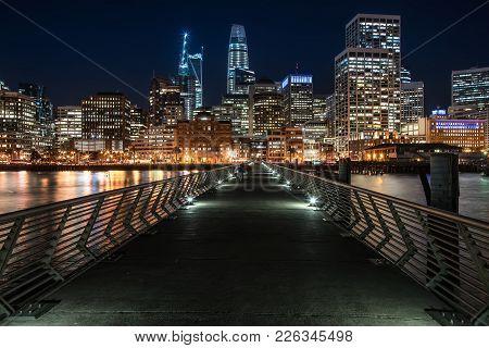 Wonderful Night Cityscape Of Illuminated San Francisco In California Usa. Panoramic Long Exposure Ph