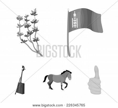 National Flag, Horse, Musical Instrument, Steppe Plant. Mongolia Set Collection Icons In Monochrome