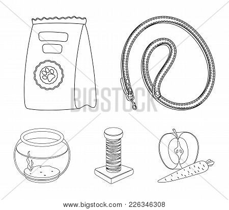 Leash, Feed And Other Zoo Store Products.pet Shop Set Collection Icons In Outline Style Vector Symbo