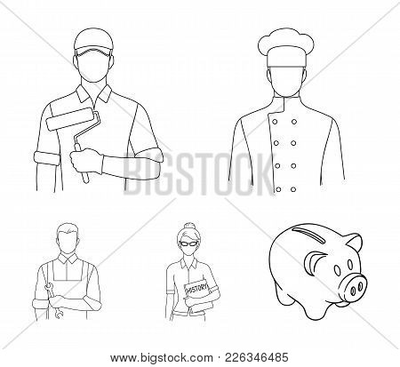 Cook, Painter, Teacher, Locksmith Mechanic.profession Set Collection Icons In Outline Style Vector S