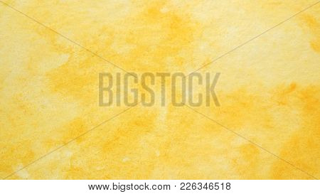 Watercolor Background, Art Abstract Yellow Watercolor Painting Textured Design On White Paper Backgr