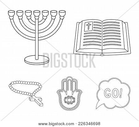 Bible, Menorah, Hamsa, Orthodox Cross.religion Set Collection Icons In Outline Style Vector Symbol S
