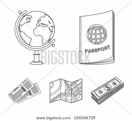 Vacation, Travel, Passport, Globe .rest And Travel Set Collection Icons In Outline Style Vector Symb