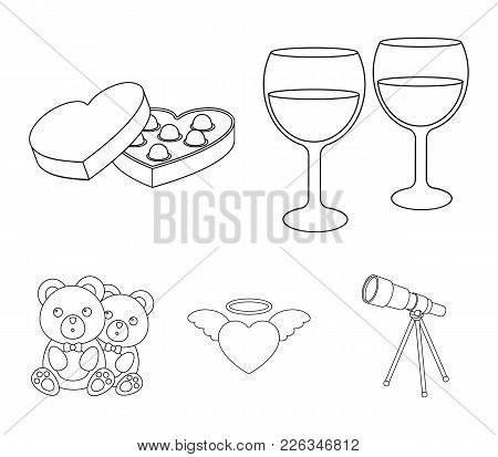 Glasses With Wine, Chocolate Hearts, Bears, Valentine.romantik Set Collection Icons In Outline Style