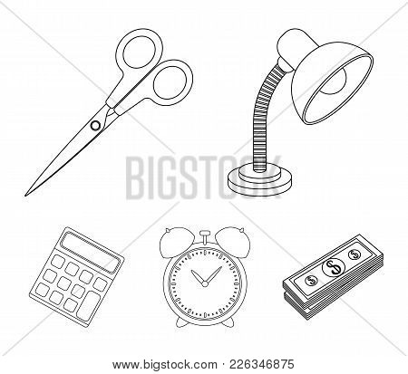Table Lamp, Scissors, Alarm Clock, Calculator. School And Education Set Collection Icons In Outline