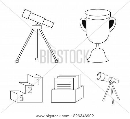 Cup, Prize, Telescope, Catalog In A Box And Pedestal Of Honor. School Set Collection Icons In Outlin