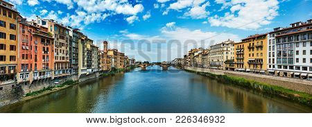 Florence, Italy - May 19, 2017: Beautiful Panorama Of Saint Trinity Bridge From Ponte Vecchio In Flo