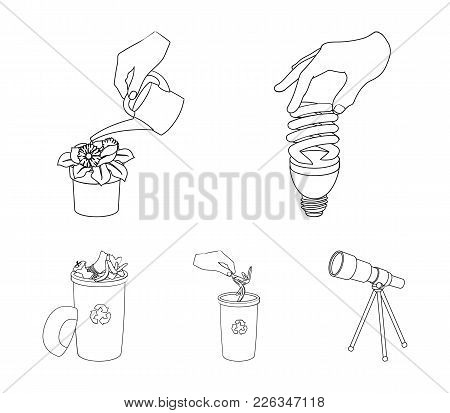 Energy-saving Light Bulb, Watering A Houseplant And Other  Icon In Outline Style. Garbage Can With W