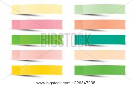 Post Note Sticker. Paper Sticky Tape With Shadow. Adhesive Office Paper Tape. Isolated Realistic.