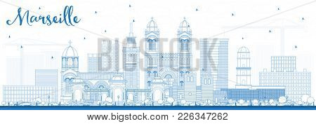 Outline Marseille France City Skyline with Blue Buildings. Business Travel and Tourism Concept with Historic Architecture. Marseille Cityscape with Landmarks.