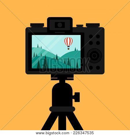 Taking Natural Landscape Scene Photo Through Digital Camera Flat Design, Vector Illustration