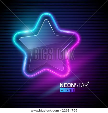 Vector illustration - Neon colorful star poster