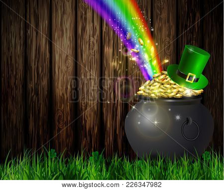 St. Patrick S Day Symbol Pot Full Of Gold Coins Leprechaun Hat And Rainbow Vector Illustration