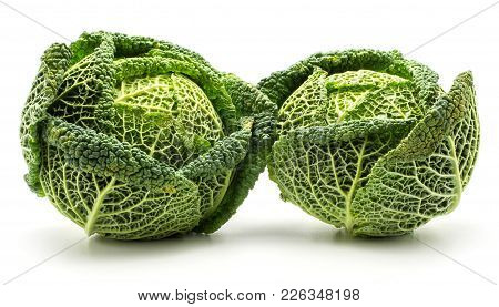 Savoy Cabbage Isolated On White Background Two Fresh Green Heads