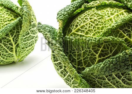 Savoy Cabbages Close-up Isolated On White Background Two Fresh Green Heads