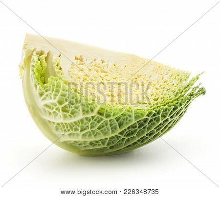 Savoy Cabbage One Quarter Slice Isolated On White Background Fresh Cut Green