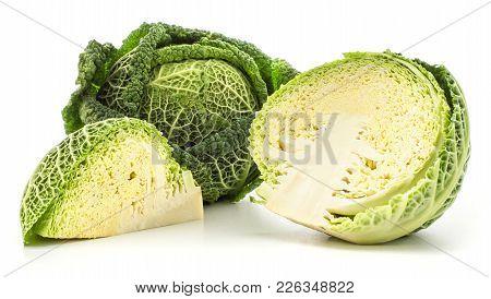 Savoy Cabbage Set Isolated On White Background One Fresh Green Head One Cut Half And A Quarter Slice