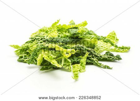Chopped Savoy Cabbage Stack Isolated On White Background Green Fresh Cut