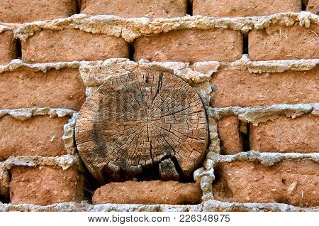 Background Wall Of Adobe And Timber