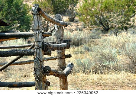 Background Images Shows Old Corral With Bark Edged, Wooden Posts.  Rustic Scene Is In On A Farm, In