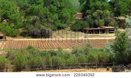 Cabins And Garden Are Part Of The El Rancho Del Las Golondrinas Ranch.  It Is A Living Museum Teachi