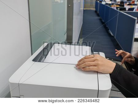 Selective Focus On Business Woman Hands Use Office Printer For Copying And Scanning The Important Do