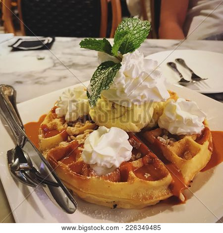Vanilla Ice Cream Baked Waffle With Whipping Cream On Top