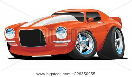 Muscle Car Cartoon. Orange With White Stripes, Aggressive Stance, Low Profile, Big Tires And Rims.