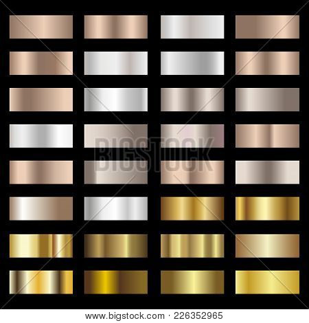 Set Of Silver, Bronze And Gold Foil Texture Gradation Background. Vector.