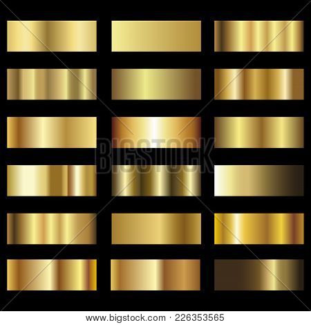Set Of Gold Foil Texture Pattern Background . Vector.
