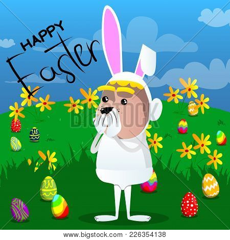 Boy Dressed As Easter Bunny With Hands Over Mouth. Vector Cartoon Character Illustration.