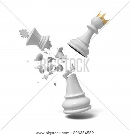 3d Rendering Of A Cracked White Chess King Piece Breaks Under A Flying White Pawn With A Golden Crow