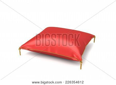 3d Rendering Of A Red Silk Decorative Pillow With Golden Tussels In Side View On A White Background.
