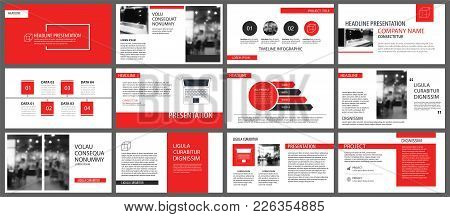 Red Presentation Templates For Slide Show Background. Infographic Elements For Business Annual Repor