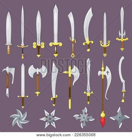 Sword Vector Medieval Weapon Of Knight With Sharp Blade And Pirates Knife Illustration Broadsword Se