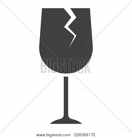 Fragile Symbol Glyph Icon, Logistic And Delivery, Care Sign Vector Graphics, A Solid Pattern On A Wh