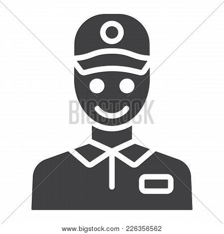 Delivery Man Glyph Icon, Logistic And Delivery, Courier Sign Vector Graphics, A Solid Pattern On A W