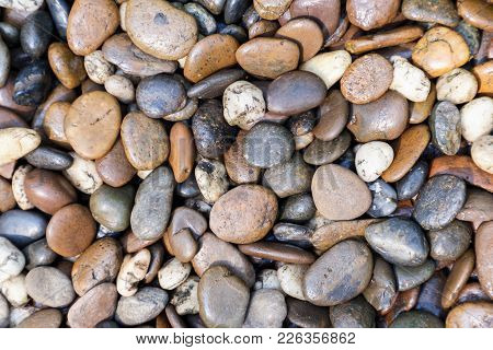 Stone Pebbles Texture Or Stone Pebbles Background. Stone Pebbles For Interior Exterior Decoration An