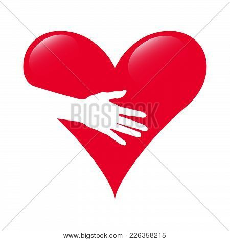 Hand Of Love. Love Giving Vector. Illustration Of Love And Valentine Day. Love And Heart Care Logo.