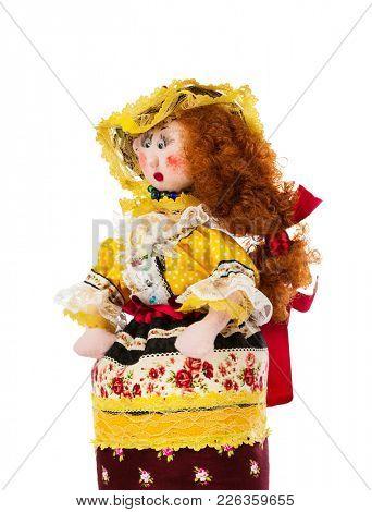 Handmade doll isolated on white background