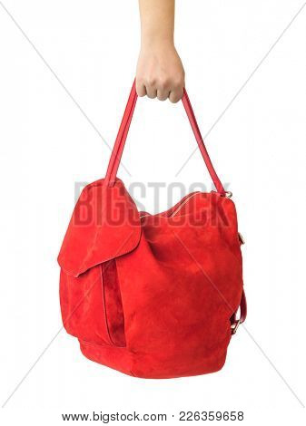 Hand and red bag isolated on white background