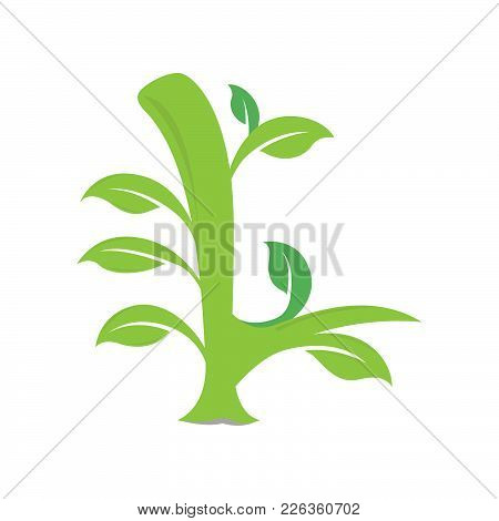 L Letter Ecology Nature Element Vector Icon. Lettering Icon Vector Logo Design